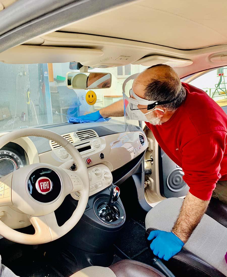 Car hire disinfection in Santorini