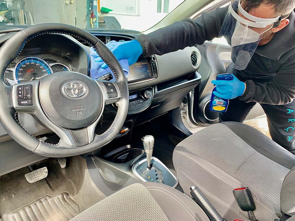Santorini car hire disinfection